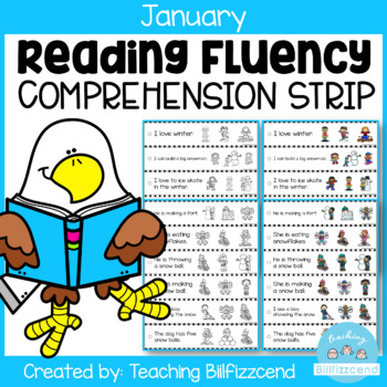 January Reading Fluency and Comprehension Sentence Strip