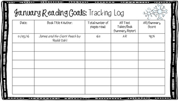 January Reading Goals Tracking with Incentives