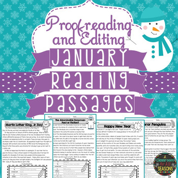 January Reading Passages: Proofreading and Editing