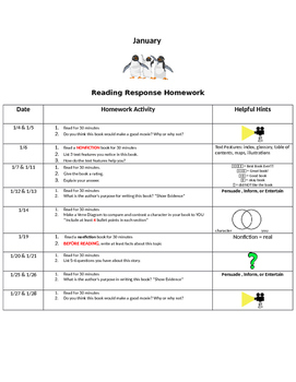 January Reading Response Homework