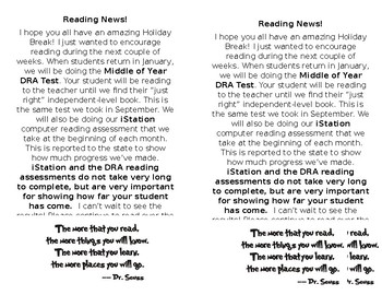 January Reading Test Note Home