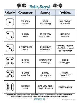 {January} Roll-a-Story Writing Activity