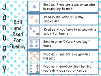 January Roll and Read for Fluency