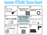 January STEAM Choice Board and Activity Instructions