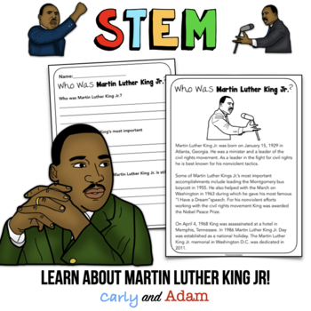 January STEM Activity: Martin Luther King Jr. (Math, Reading, and Writing)