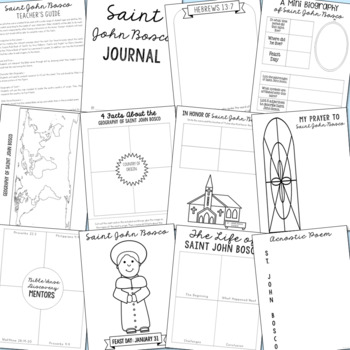 January Saints BUNDLE of Notebook Journal Projects, Catholic Resources