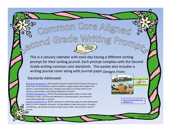 January Second Grade Writing Prompts and Journal Pages with Cover (CCS Aligned)
