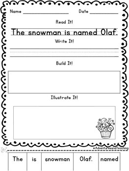 January Sentence Builders {morning work, word work, daily 5, & centers}