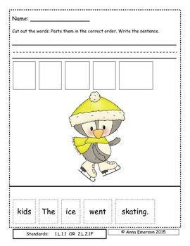 January Sentence Scrambles First or Second Grade