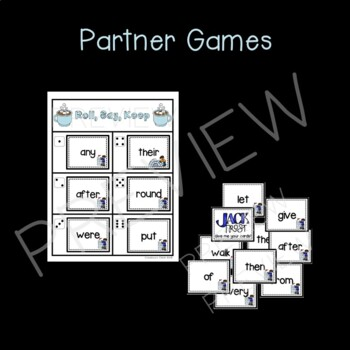 January Sight Word Partner, Print, and Play Board Games and Quick Assessment