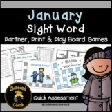 January Sight Word Partner, Print, and Play Board Games an