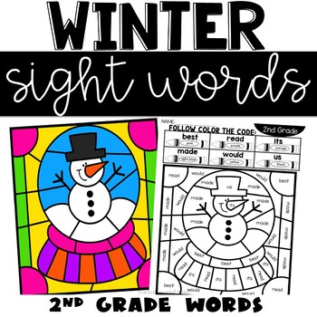 January Sight Words Color by Code with 2nd Grade Words