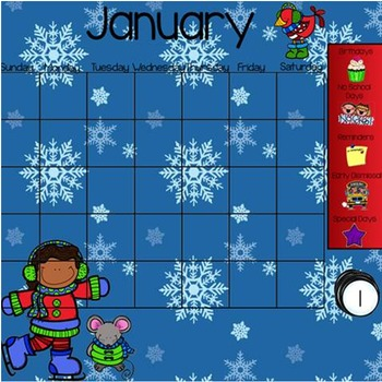 January Smartboard Calendar Template
