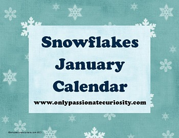 January Snow Pocket Chart Calendar