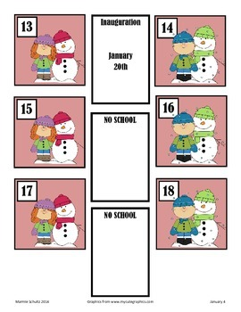 January Snowman Calendar Pieces