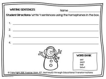 January Snowman Homophone Station