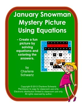 January Snowman Mystery Picture Using Equations