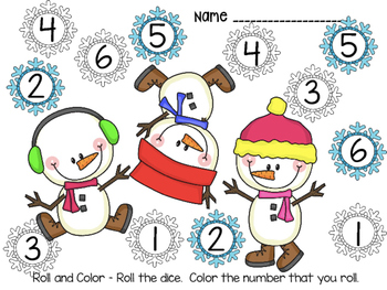 DOLLAR DEAL!! January Snowman Roll and Color Addition Game