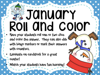 January Snowman Roll and Color Addition Game