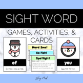 January Snowman and Mitten Sight Words Flashcards