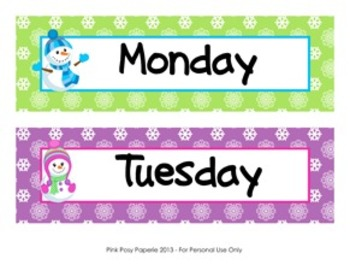 January Snowmen Calendar Set - Numbers- Days of the Week