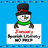 Enero January No Prep SPANISH Literacy Fun:  Kindergarten and First Grade