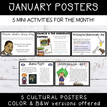 January Activities Events Posters