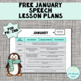 FREE January Speech Lesson Plans PK-2nd