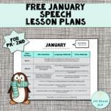 FREE January Speech Lesson Plans PK-2nd