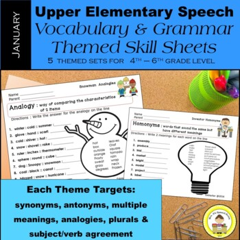 January Speech Therapy Upper Elementary Vocab & Grammar Worksheets