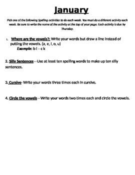 January Spelling Activities