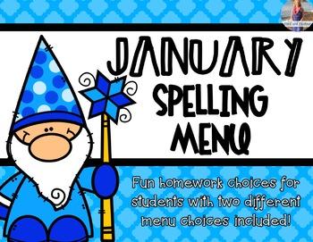 January Spelling Homework Choices