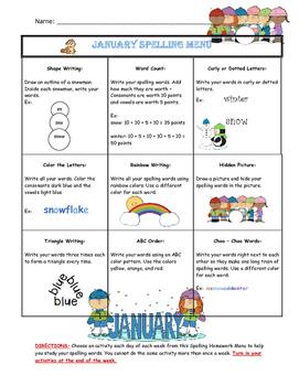 January Spelling Menu