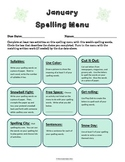 January Spelling Menu - 9 ways for students to learn their