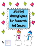 January Spelling Menus for Homework and Spelling