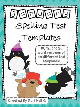 January Spelling Test Templates