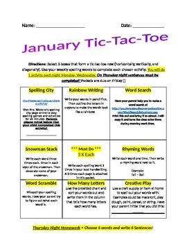 January Spelling Tic-Tac-Toe