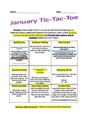 January Spelling Tic-Tac-Toe