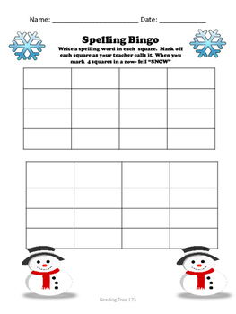 January Spelling Words and Activities Grades 3-5