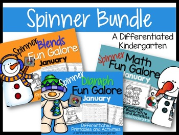 January Spinner Bundle-Math, Blends and Digraphs Differentiated and Aligned