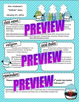 January  Stripes Penguin Classroom Newsletter