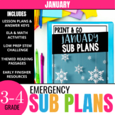 January Emergency Sub Plans for 3rd & 4th Grade