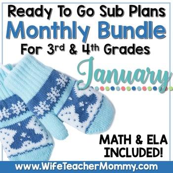 January Sub Plans 3rd 4th Grade Math & ELA Mini Bundle. Winter Activities
