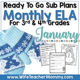 January Sub Plans ELA for 3rd, 4th Grades. Winter Substitute Plans.