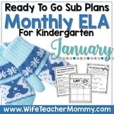 January Sub Plans ELA for Kindergarten. Winter No Prep Activities