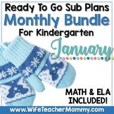 January Sub Plans Kindergarten Math & ELA Mini Bundle. Winter Activities