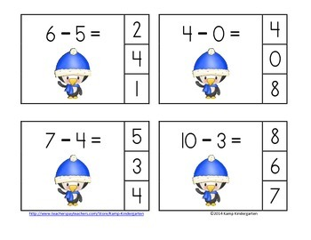 January Subtraction Math Centers (Minuends to 10)