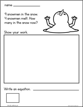 January Subtraction Word Problems First Grade