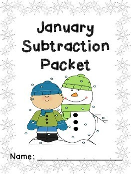 January Subtraction Worksheet Packet- Just Print & Go!