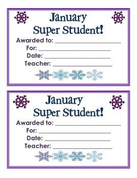 January Super Star Student Award